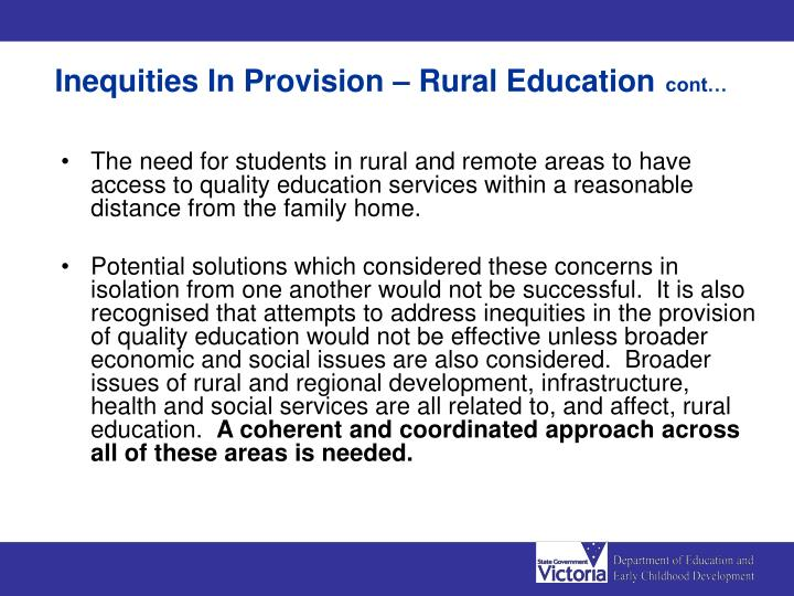 Inequities In Provision – Rural Education