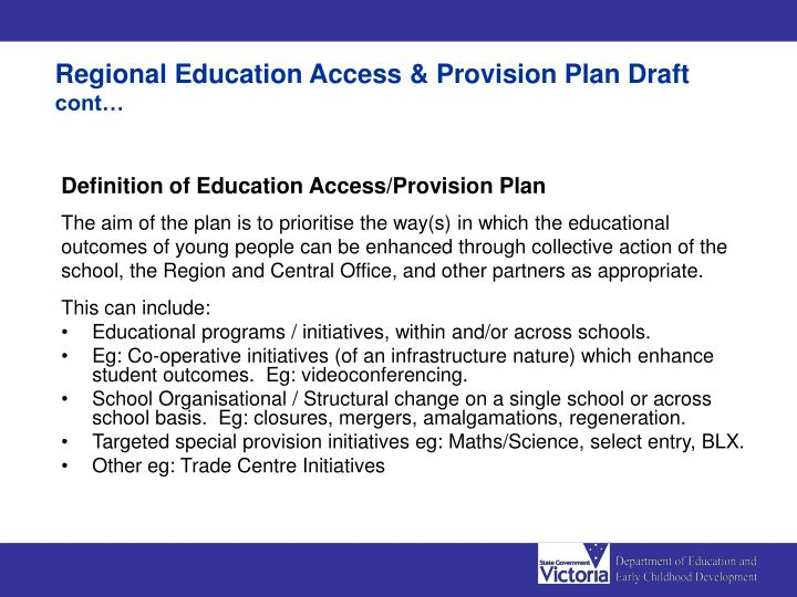 Regional Education Access & Provision Plan Draft