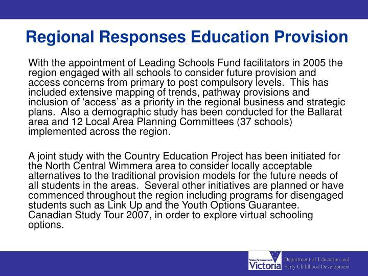 Regional Responses Education Provision