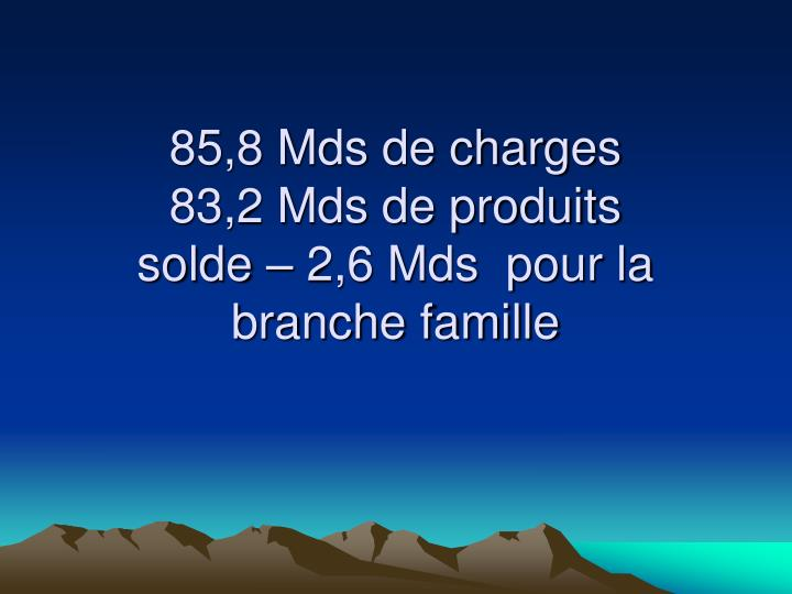 85,8 Mds de charges