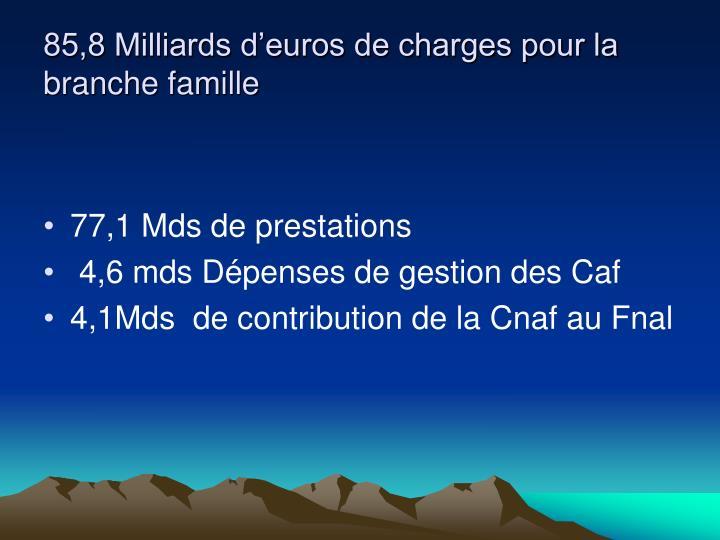 85,8 Milliards d'euros de charges pour la branche famille