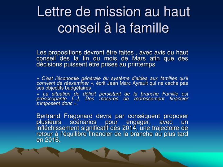 Lettre de mission au haut conseil  la famille
