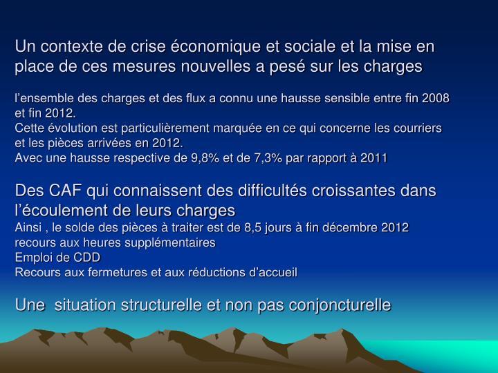 Un contexte de crise économique et sociale et la mise en place de ces mesures nouvelles a pesé sur les charges