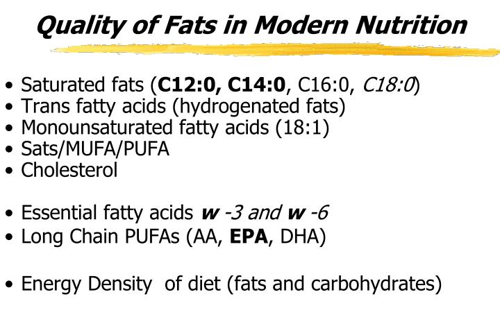 Quality of Fats in Modern Nutrition