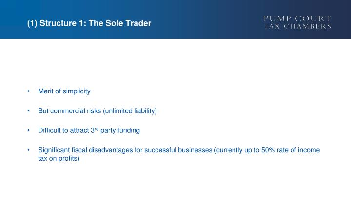 (1) Structure 1: The Sole Trader