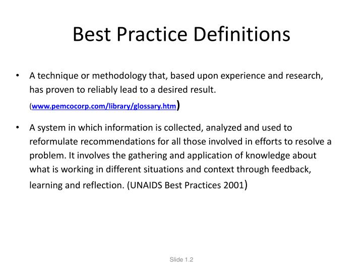 Best Practice Definitions