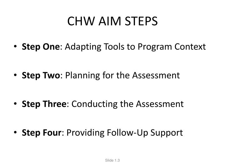 CHW AIM STEPS