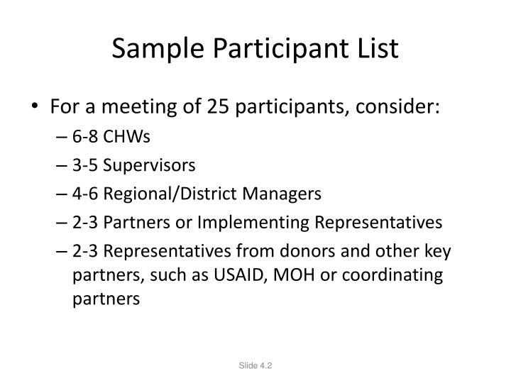 Sample Participant List