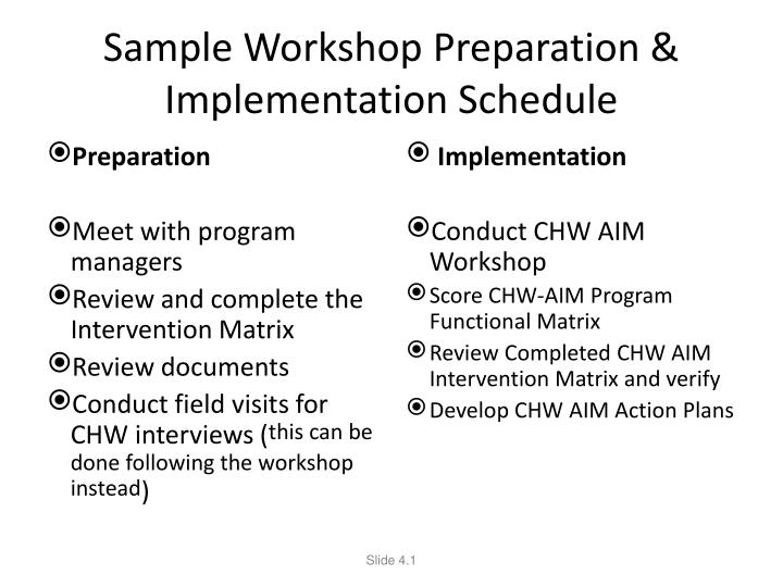 Sample Workshop Preparation & Implementation Schedule