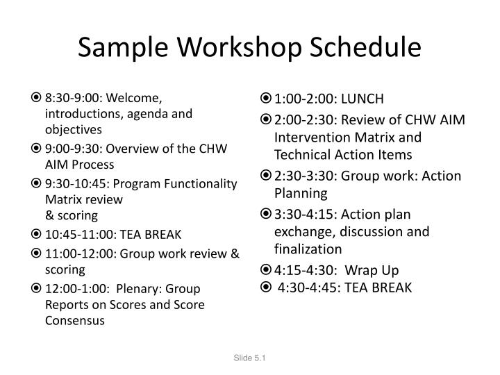 Sample Workshop Schedule