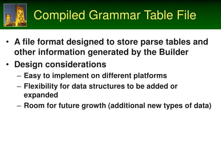Compiled Grammar Table File