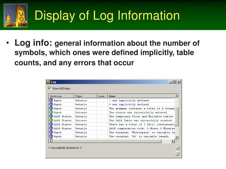 Display of Log Information