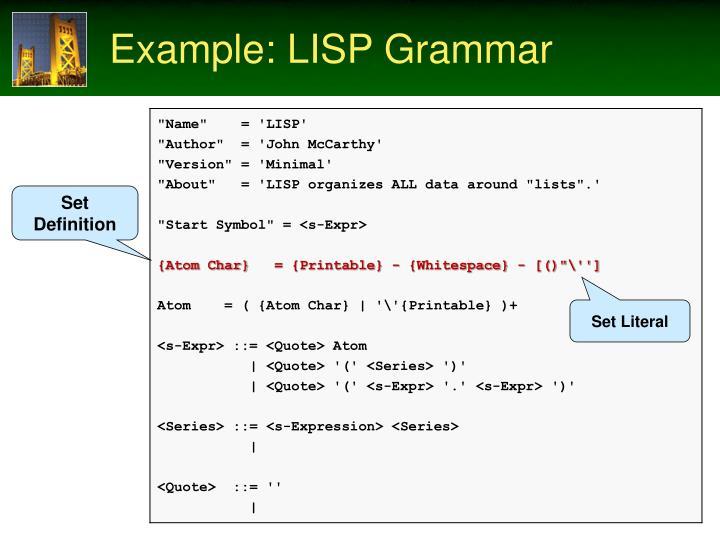 Example: LISP Grammar