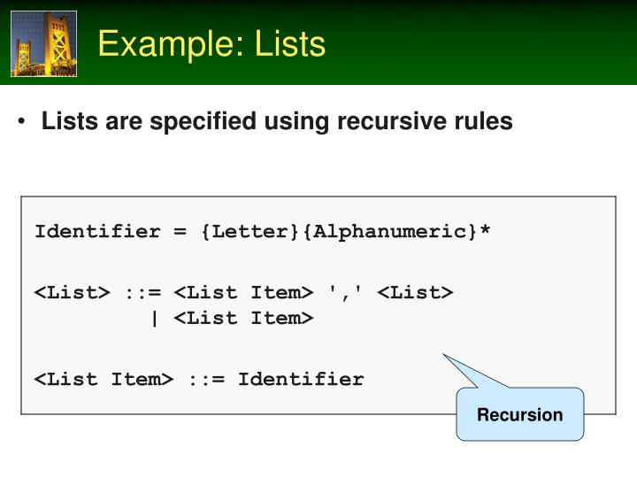 Example: Lists