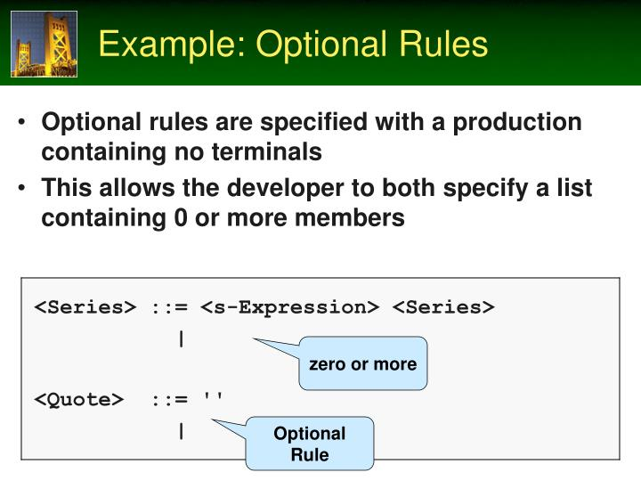 Example: Optional Rules