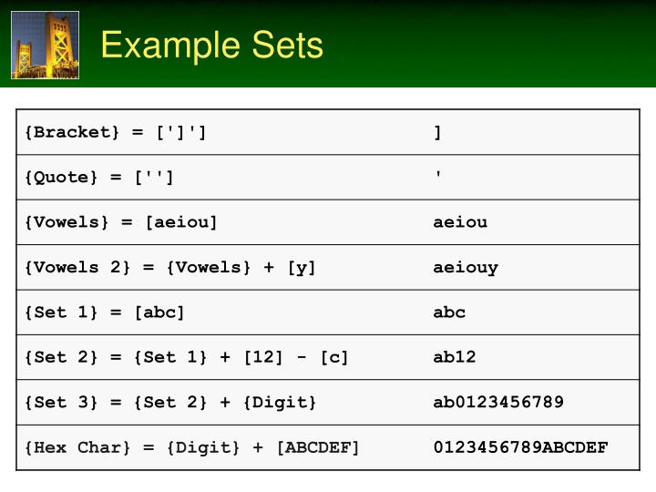 Example Sets