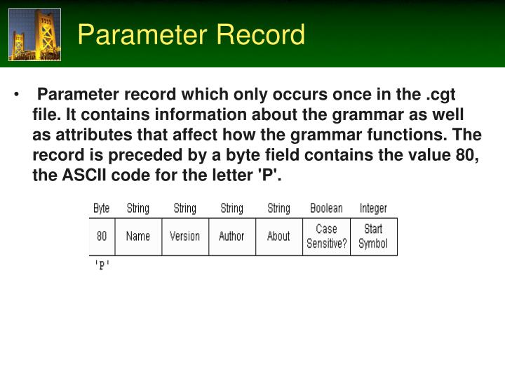 Parameter Record