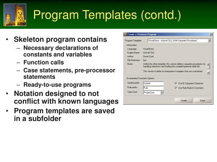 Program Templates (contd.)