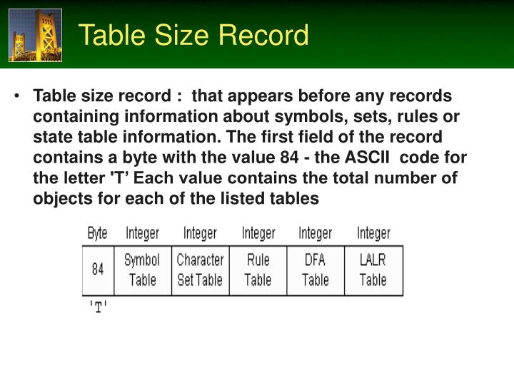 Table Size Record