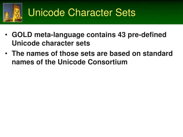 Unicode Character Sets