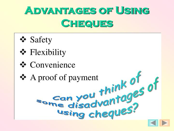 Advantages of Using Cheques