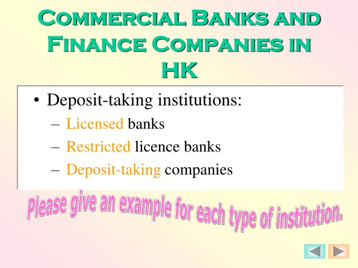Commercial Banks and Finance Companies in HK