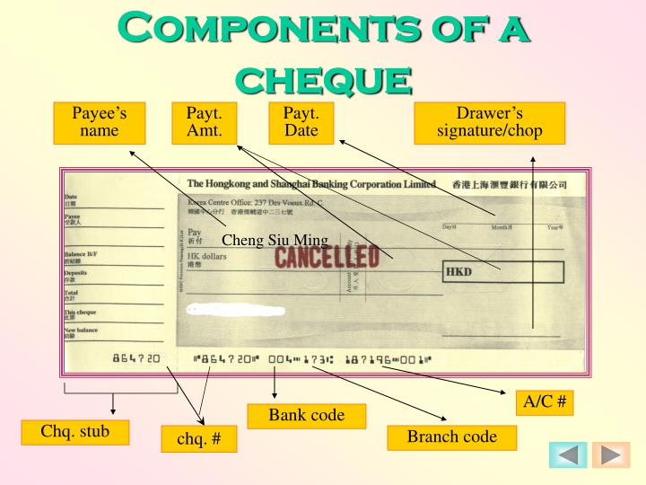 Components of a cheque