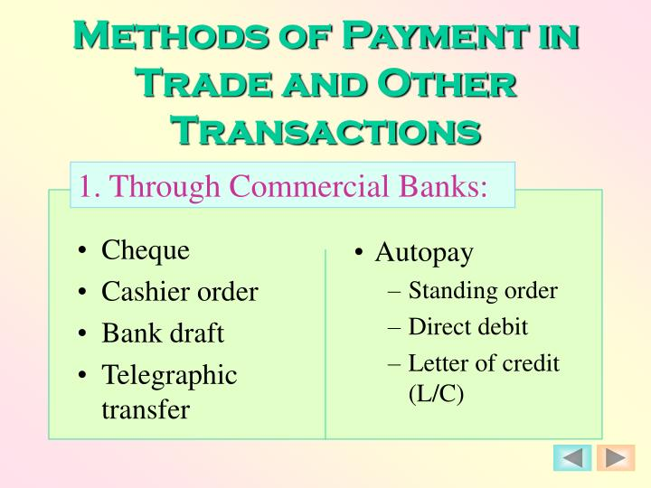 Methods of payment in trade and other transactions