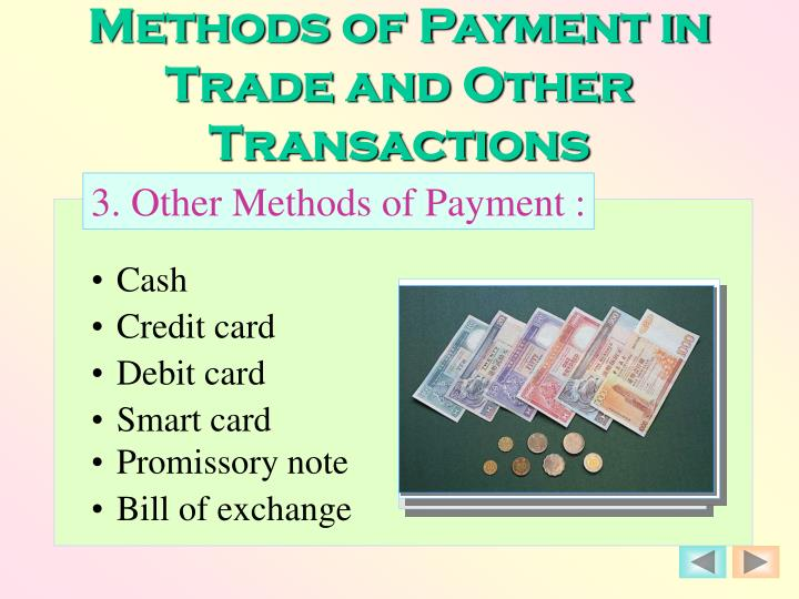Methods of Payment in