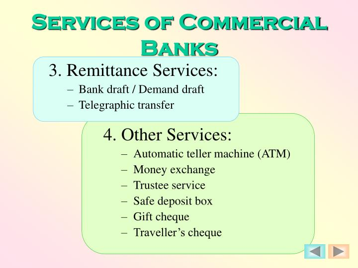 Services of Commercial Banks