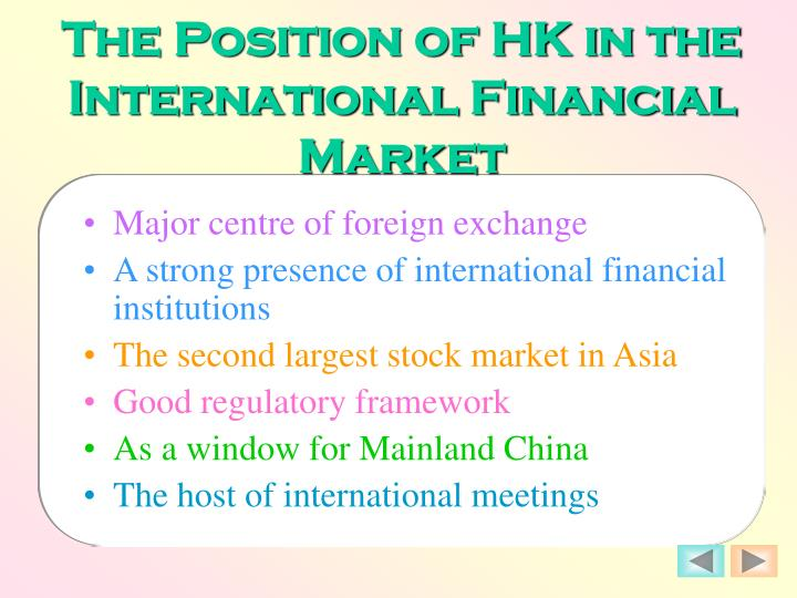 The Position of HK in the International Financial Market