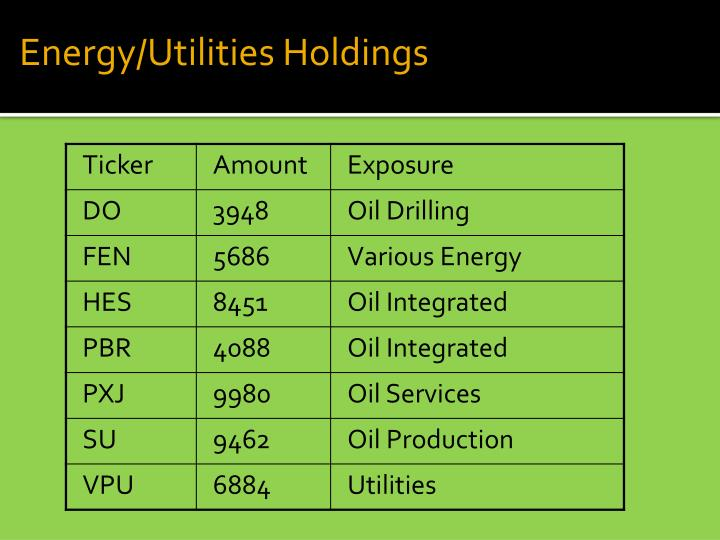 Energy/Utilities Holdings