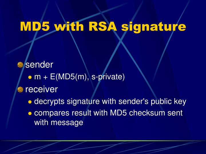 MD5 with RSA signature