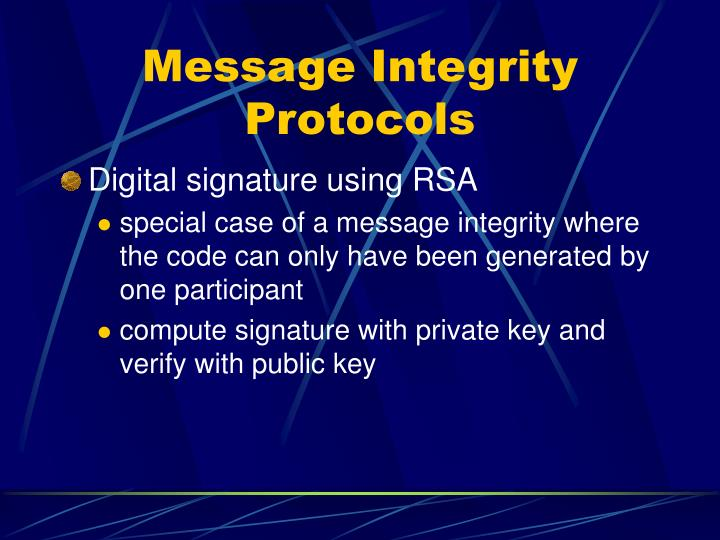 Message Integrity Protocols