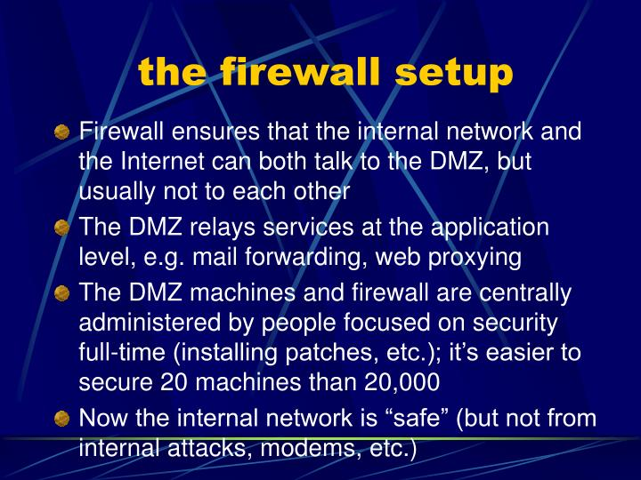 the firewall setup