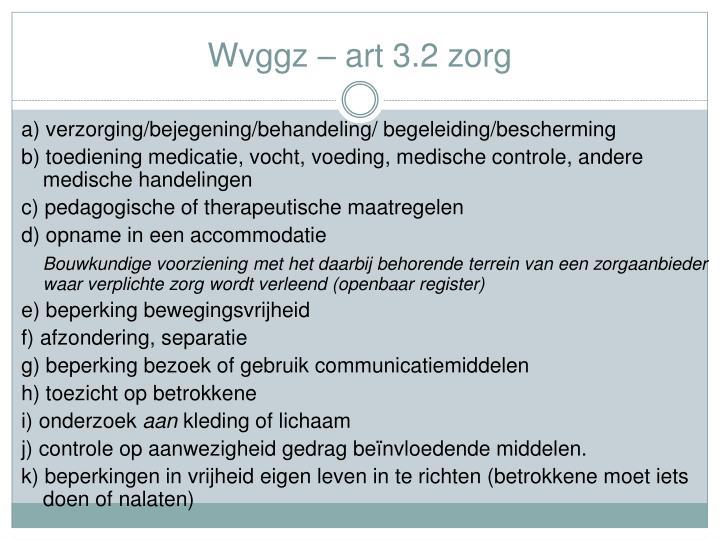 Wvggz – art 3.2 zorg