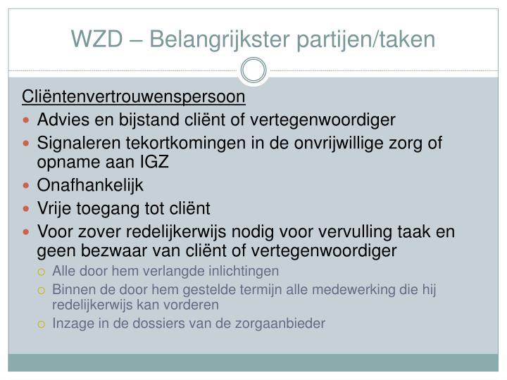 WZD – Belangrijkster partijen/taken