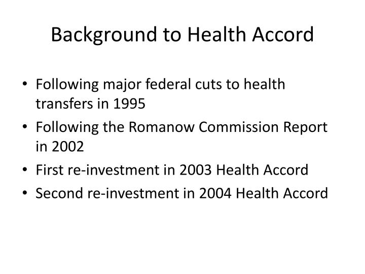 Background to health accord