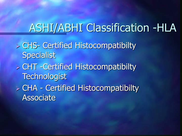 ASHI/ABHI Classification -HLA