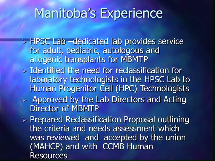 Manitoba's Experience