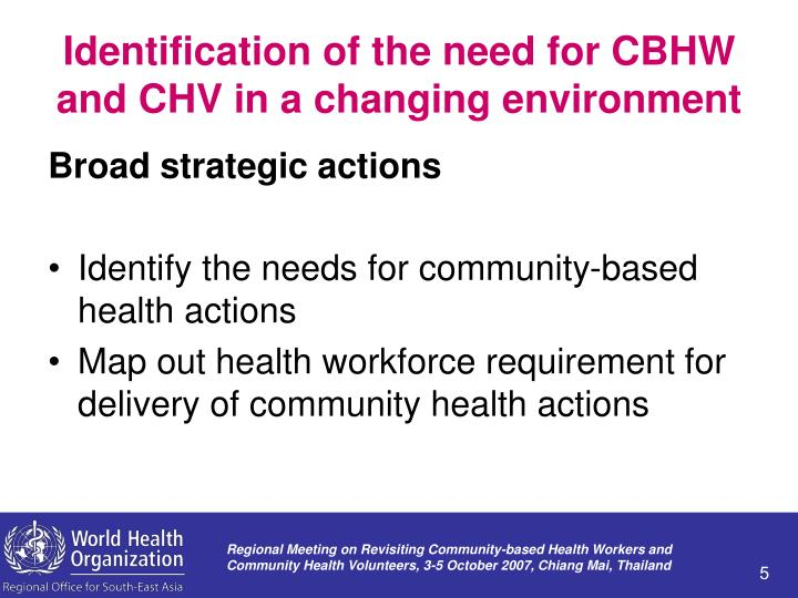 Identification of the need for CBHW and CHV in a changing environment