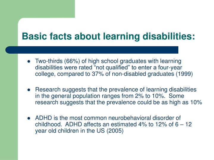 Basic facts about learning disabilities: