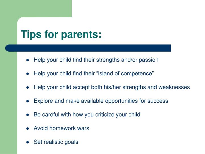 Tips for parents:
