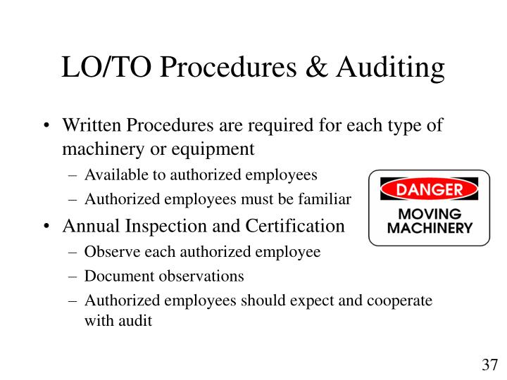 LO/TO Procedures & Auditing