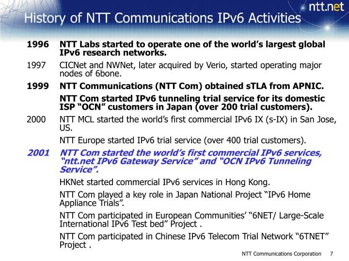1996	NTT Labs started to operate one of the world's largest global IPv6 research networks.