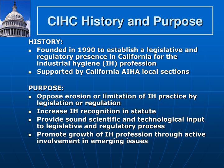 CIHC History and Purpose