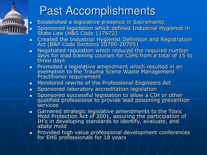 Past Accomplishments