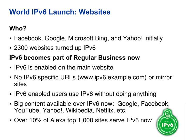 World IPv6 Launch: Websites
