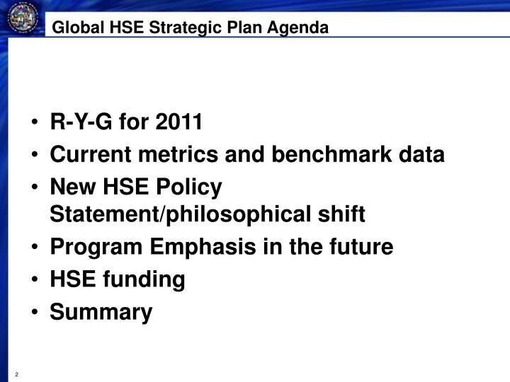Global HSE Strategic Plan Agenda