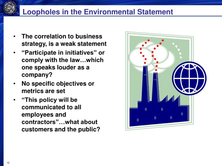 Loopholes in the Environmental Statement